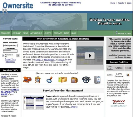 GearDiary The Ownersite Vehicle Maintenance Online Log Site Review
