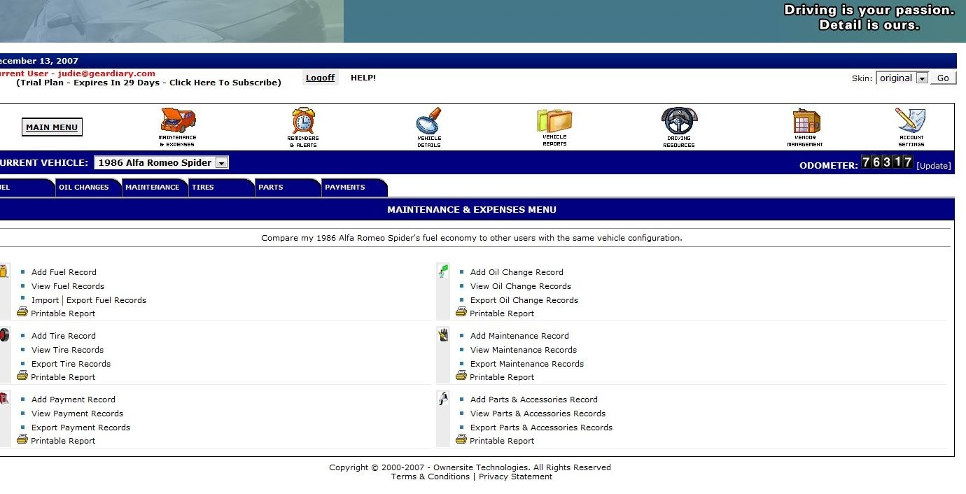 the ownersite vehicle maintenance online log site review