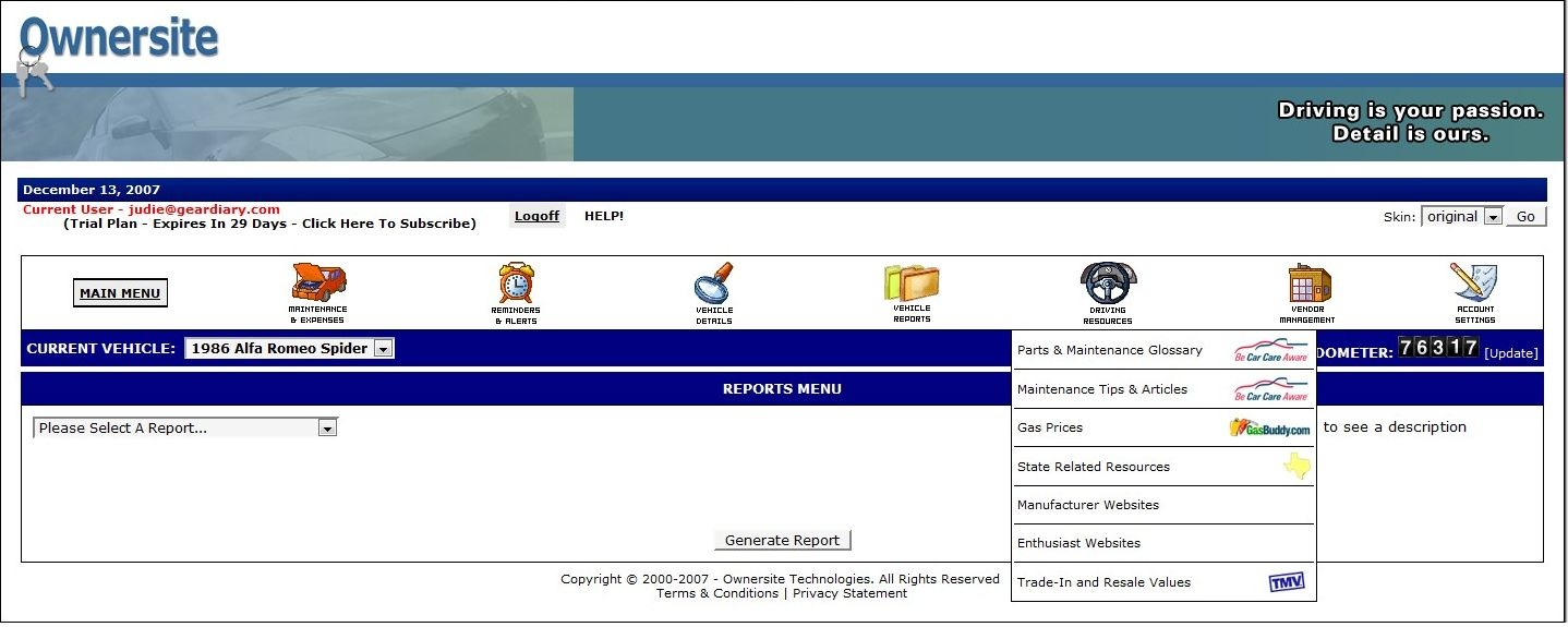online vehicle maintenance log