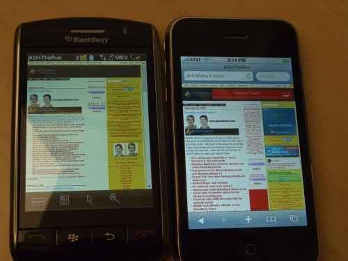 GearDiary iPhone 3G vs BlackBerry Storm