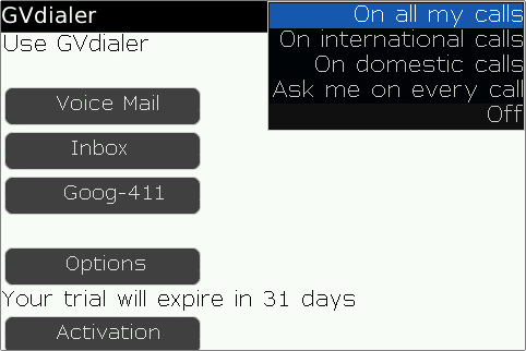 GearDiary GVdialer for BlackBerry enables ultimate Google Voice dialing integration