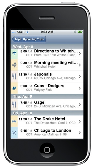 GearDiary TripIt for iPhone - a must have itinerary organizer for travelers