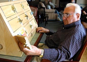Creator Dan Michel's father uses an early prototype