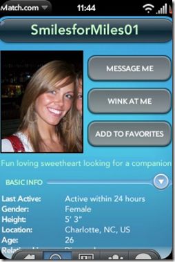 GearDiary Palm Pre App Catalog. 30 Apps in 30 Days. Day 24: Match.com