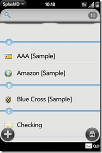 GearDiary Palm Pre App Catalog. 30 Apps in 30 Days. Day 17: SplashID
