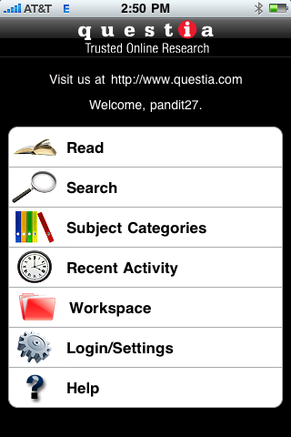 GearDiary Questia iPhone App Review