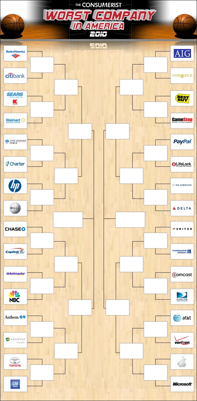 GearDiary Consumerist Counters the NCAA with its own 'Worst Company In America' Bracket