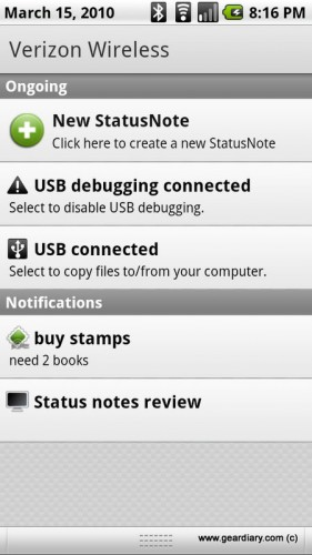 GearDiary StatusNote for Android Review