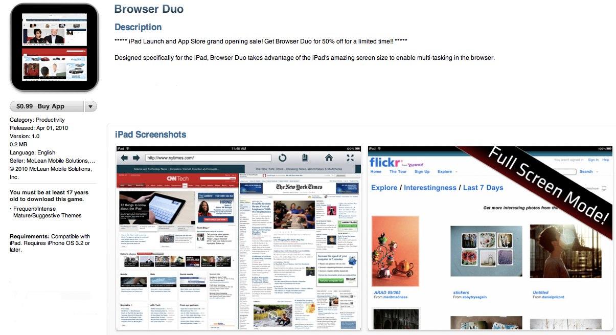 GearDiary Browser Duo- iPad App Review
