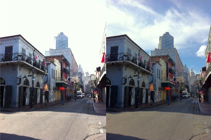 HDR image at right holds detail in highlight sky and shadow of buildings. Non-HDR image at left blows out sky detail.