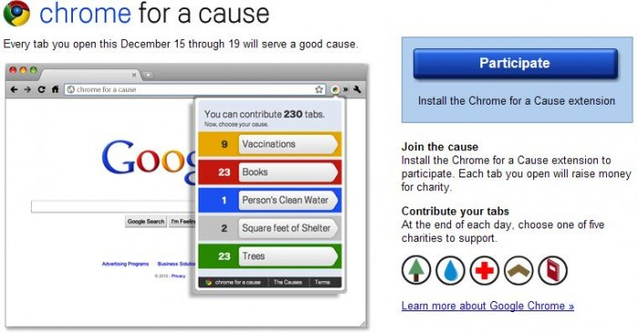 Use Google Chrome? Install 'Chrome for a Cause' to Benefit Charities!