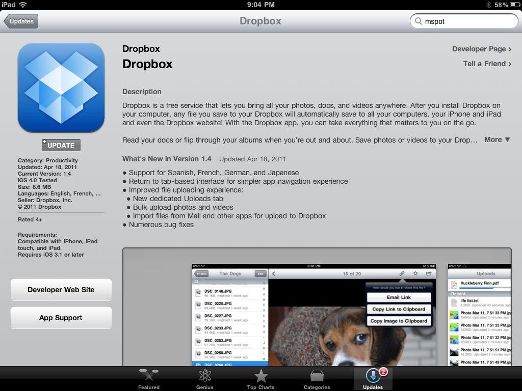 iPad Apps Dropbox Cloud Computing