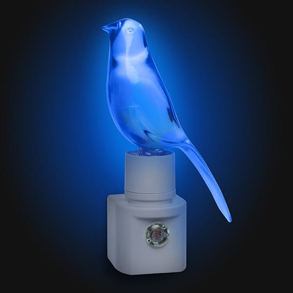 Blue Canary Night-Lite Makes a Little Birdhouse in Your Soul