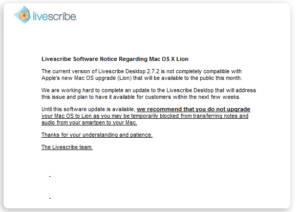 Livescribe Issues Mac OS X 'Lion' Compatibility Warning - Don't Upgrade Yet!