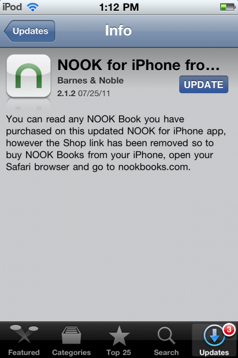 GearDiary And ... the Nook App Update Removes Store Links from iOS