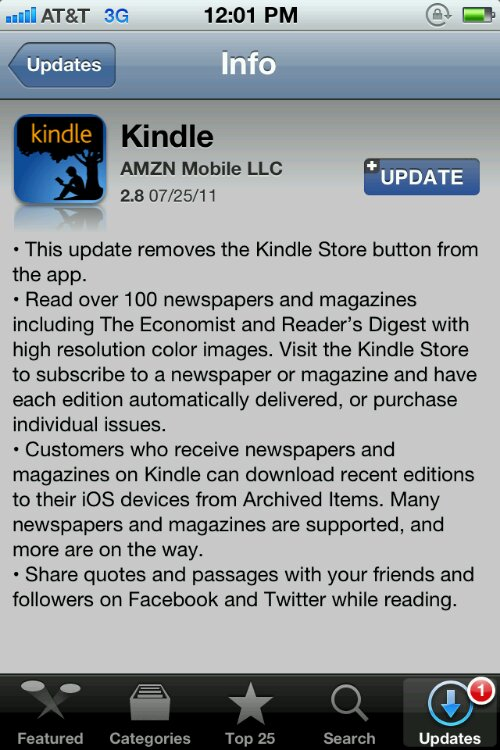 GearDiary Kindle App Removes Store Links from iOS