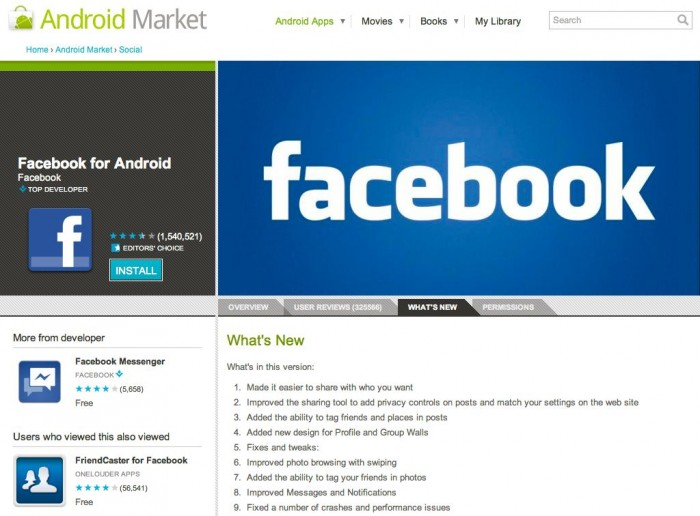 Social Networking Facebook Android Apps