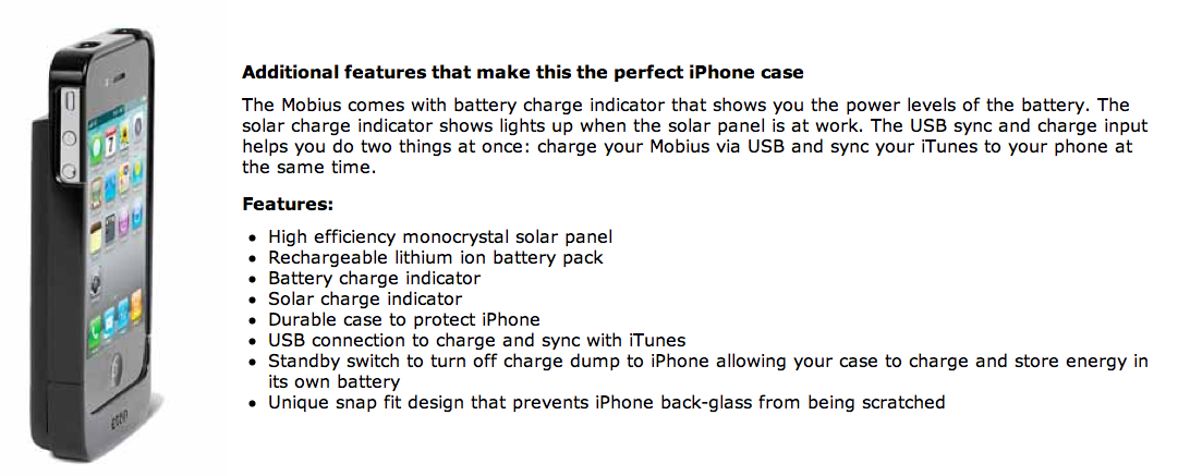 GearDiary Etón Introduces Mobius NSP300B, a Solar iPhone 4 Charging Solution