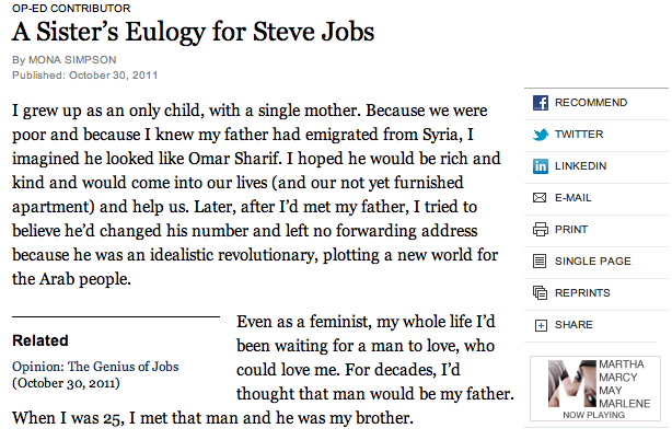 A Must Read: A Sister's Eulogy for Steve Jobs