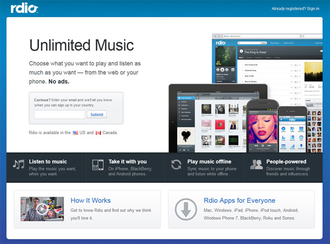 GearDiary Music Diary Notes: Rdio Launches Ad-Free On-Demand Service! [Update]