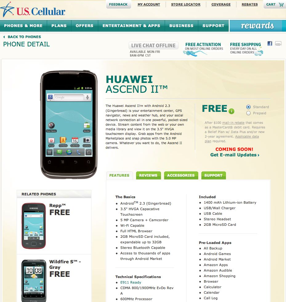 US Cellular Huawei Ascend ii