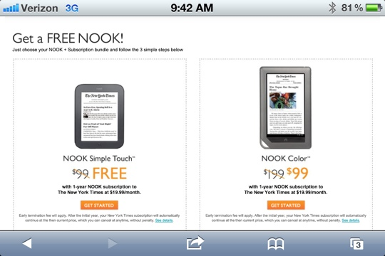 GearDiary Barnes & Noble Offers Free and Reduced NOOKS with Subscriptions!