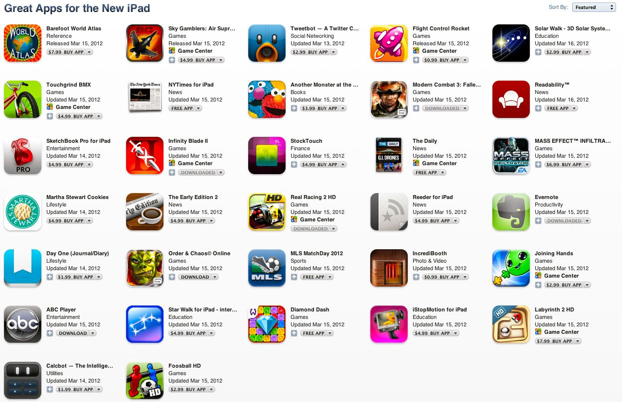 App Store iPad Retina Update