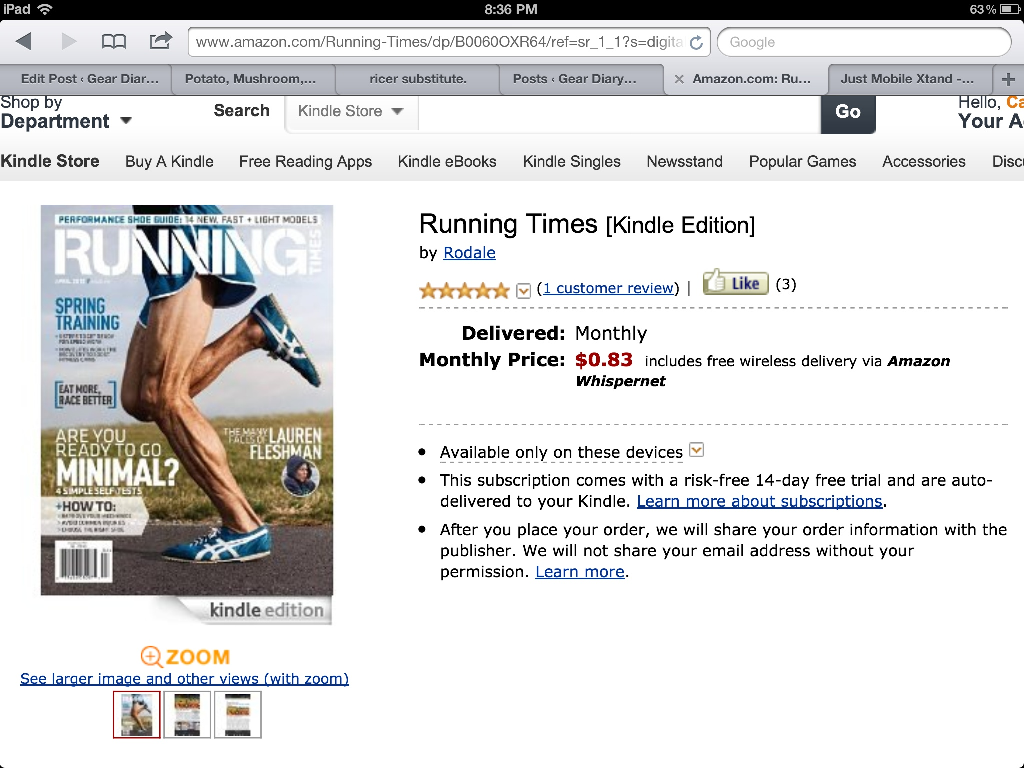 GearDiary Amazon Kindle Newsstand Versus Zinio on iPad