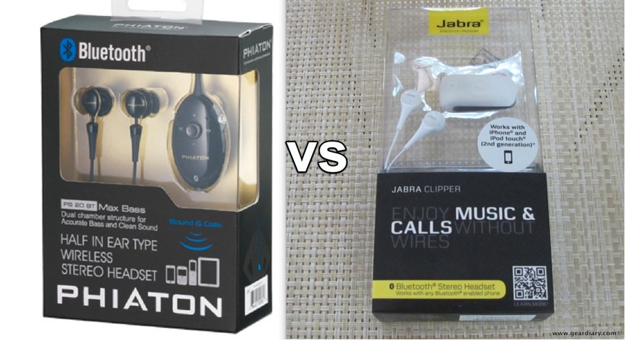 GearDiary Gear-vs-Gear, the Phiaton PS 20 BT vs the Jabra Clipper, Bluetooth Headset Head-to-Head