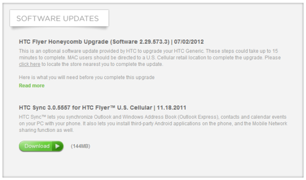 US Cellular HTC Flyer Honeycomb Update - Do It the Same ... But Slower!