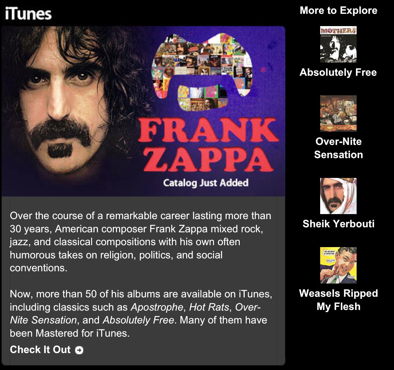 Zappa on iTunes