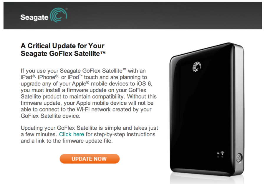 Using a Seagate GoFlex Satellite Harddrive? Read This Before Updating to iOS 6.0