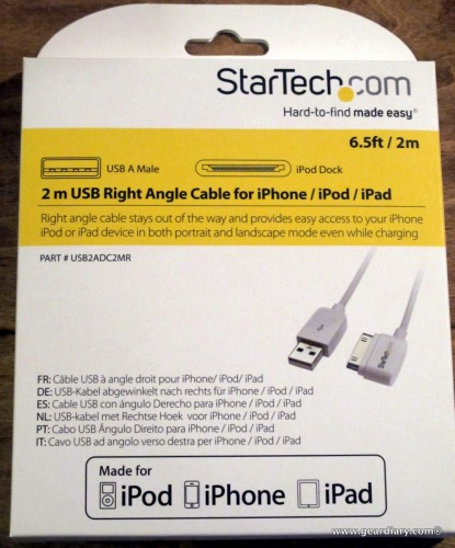 6.5ft/2m long Right Angle Cable for iPhone / iPod / iPad