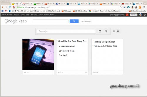 GearDiary Google Keep Launches - Google's Evernote and OneNote Answer