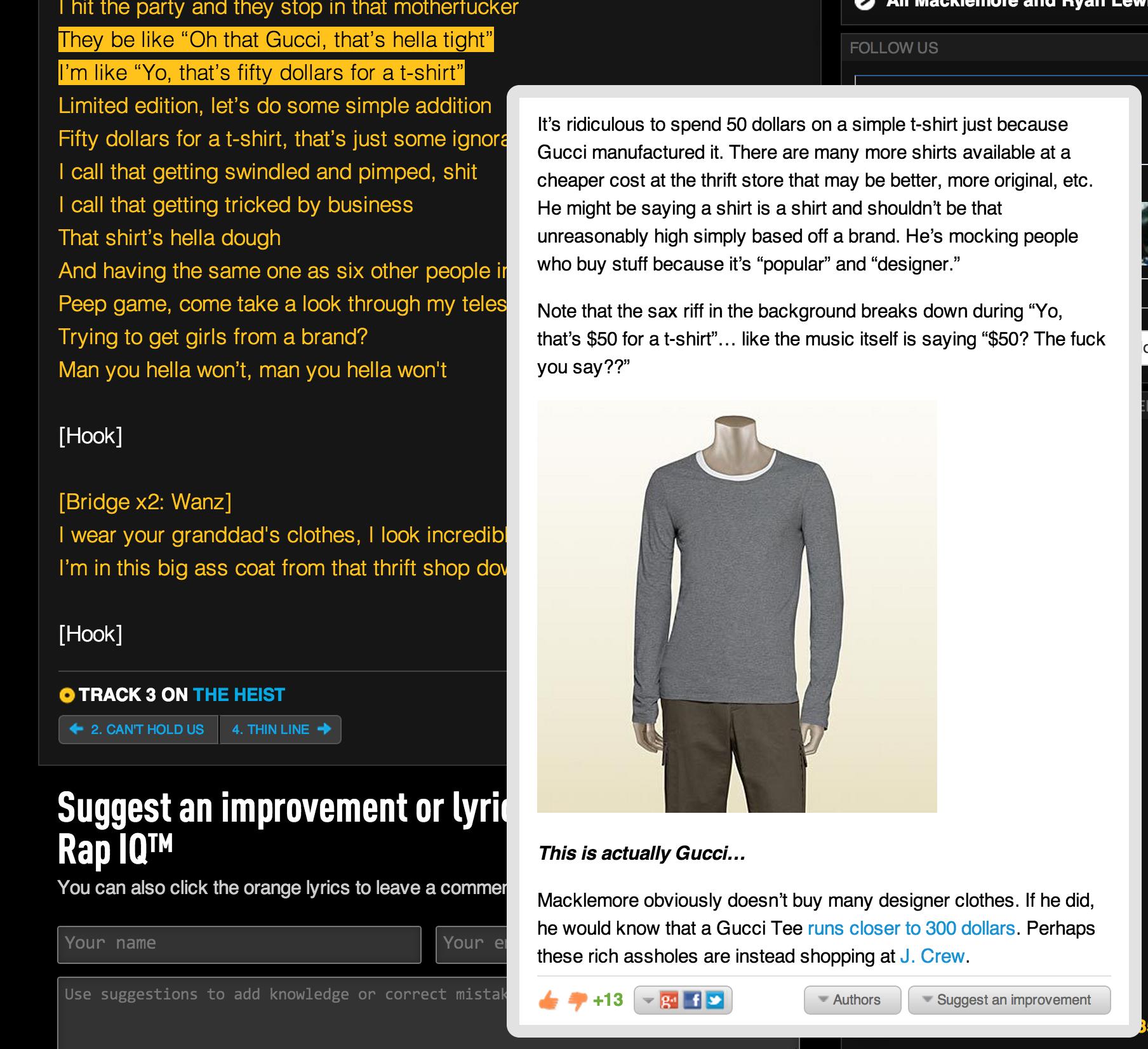 Rap Genius explains Macklemore & Ryan Lewis\'s Thrift Shop ...