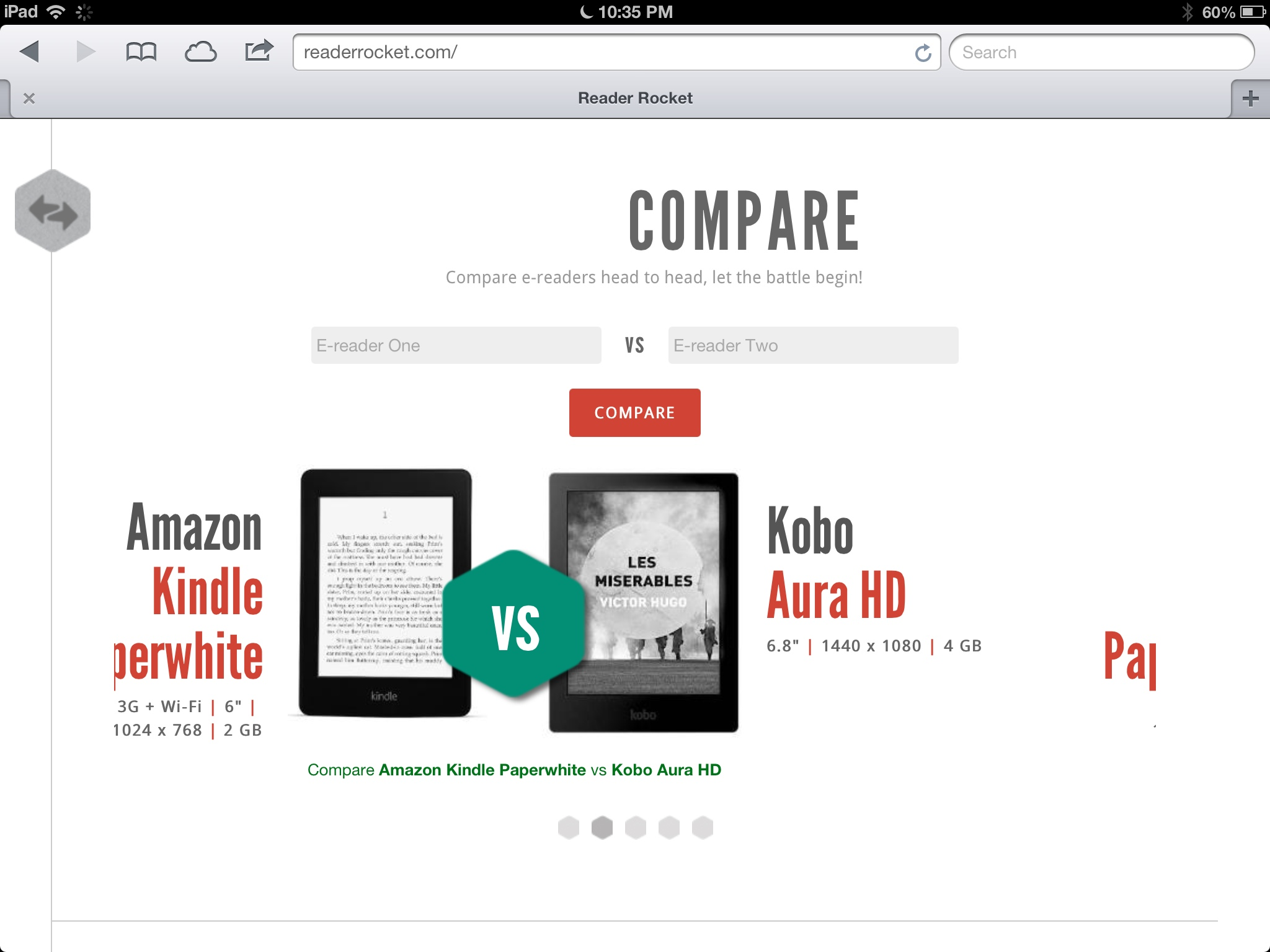 GearDiary Reader Rocket Aims to Easily Compare eBook Readers