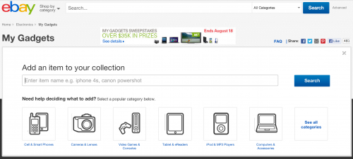 eBay Launches My Gadgets