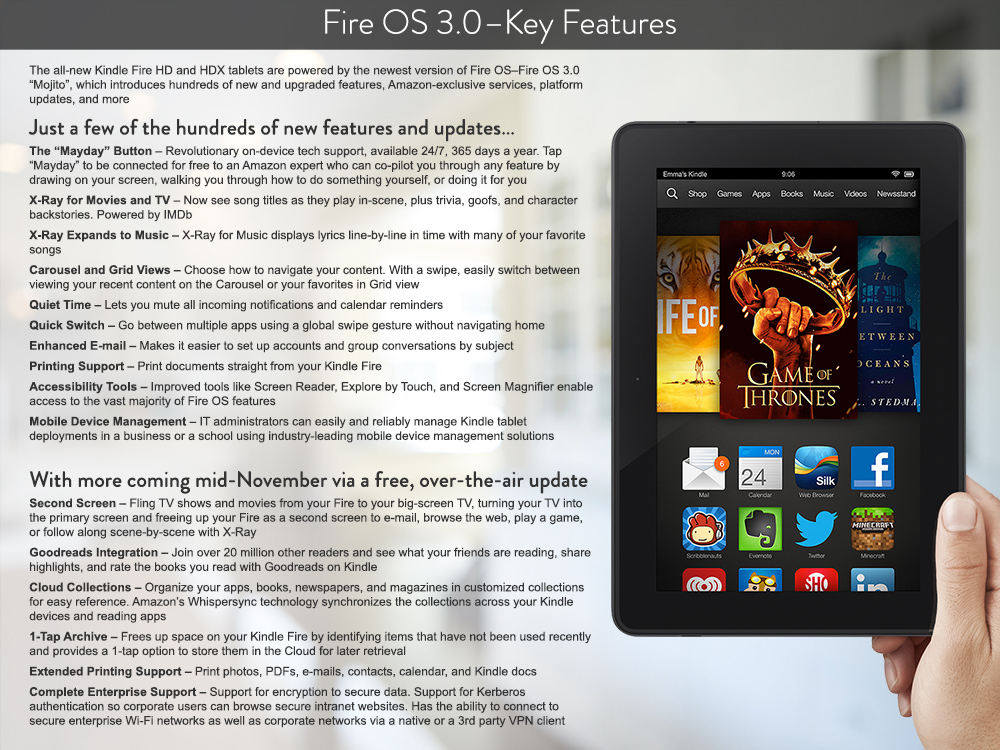 Amazon Introduces 'Mayday Button' Help System, New Kindle Fire 'Mojito' OS 3.0, and Offline Streaming