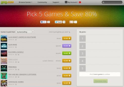 GoG Pick 5 Sale