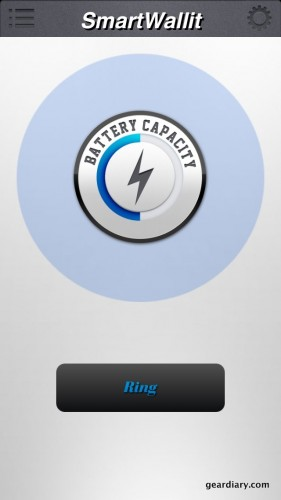 The main screen of the companion app shows how much battery life is left on your SmartWallit.