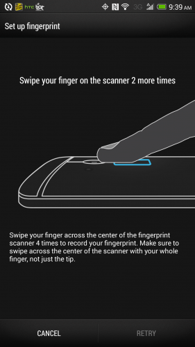 Setting up the fingerprint scanner on the HTC One Max