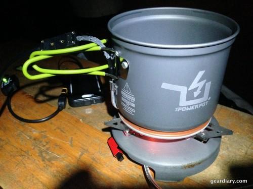 The PowerPot on a portable propane stove.