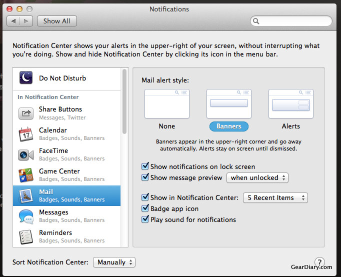 GearDiary Mac OS X Quick Tip: Manage Notifications in Mavericks