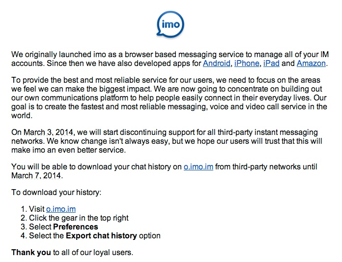 GearDiary IMO Discontinuing Support for All Third Party Networks