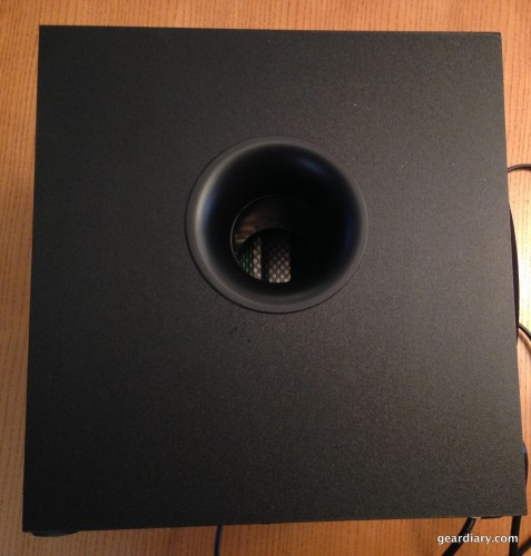 The open port on the subwoofer.