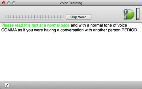 Screenshot  Dragon Dictate 4 Voice Training