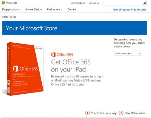 Microsoft Stores Offer Free Office 365 Suite to iPad Hugging Visitors Friday 3/28/14
