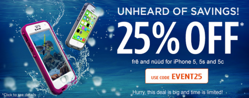 Save 25% on LifeProof Fre and Nuud iPhone 5, 5S, and 5C Cases