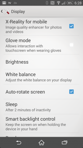 Glove Mode on the Sony Xperia Z2