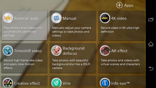 Sony Xperia Z2 Camera modes